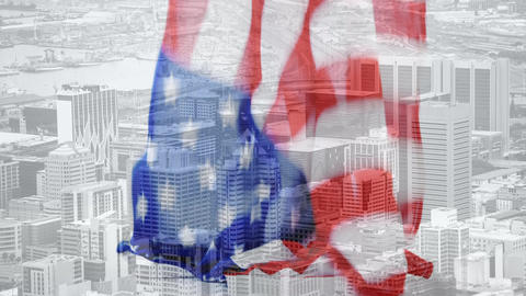 Digital animation of American flag falling against cityscape 4k Animation