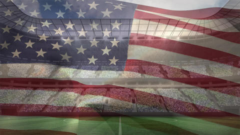 American flag against full stadium on sunny day Animation