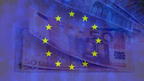 Europe flag with euros banknotes being blown out Animation