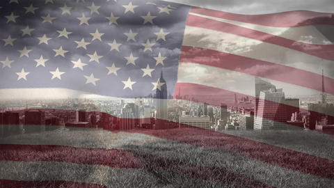 Digital animation of American flag swaying against cityscape 4k Animation