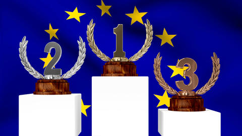 Trophies in front of waving European flag Animation