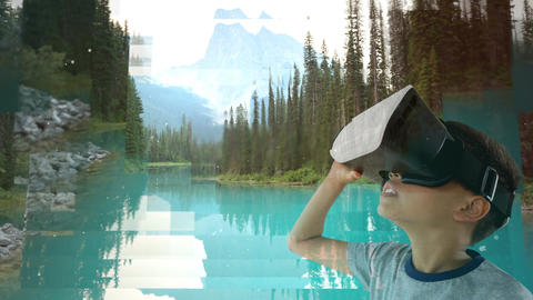 Child using VR with pretty lake Animation
