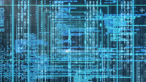 Conceptual digital animation showing binary technology code 4k Animation