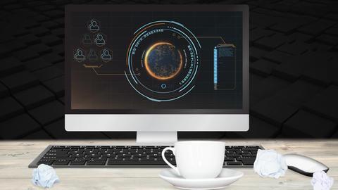 Digital animation of interface on computer screen on desk 4k Animation