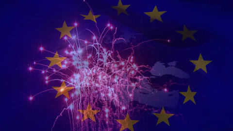 Fireworks and Europe Video Animation