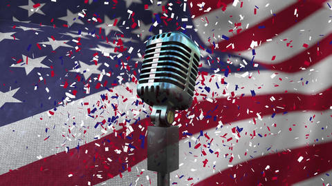 American flag with confetti and microphone Animation