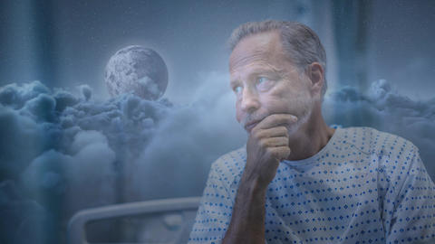 Digital animation of senior patient in hospital 4k Animation