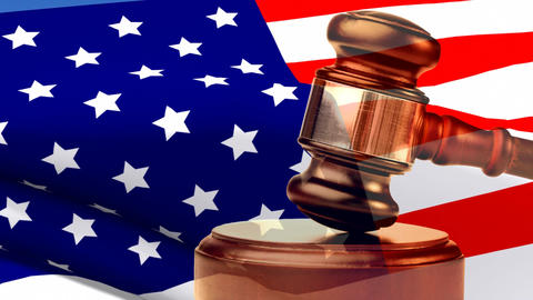 American flag and gavel video Animation