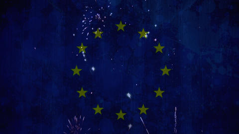 fireworks in the sky with eu flag Animation