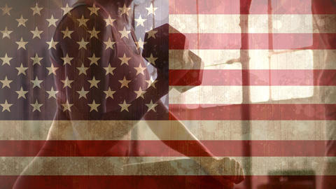 Woman at the gym and american flag, Stock Animation