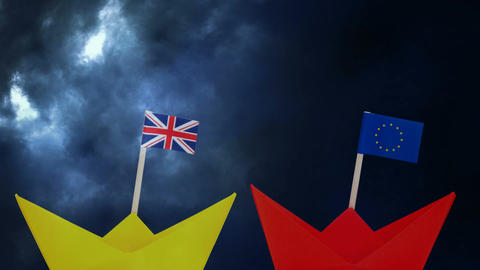 Flags of United Kingdom and EU in paper boats Animation