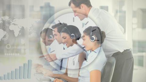Callcenter supervisor working with team Animation