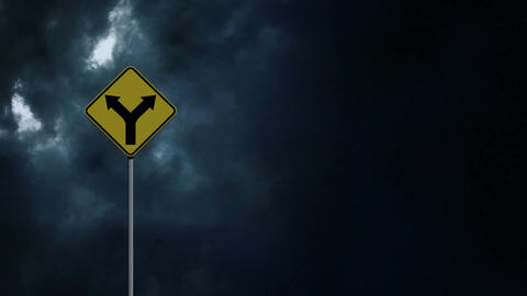 Thunder and road sign Animation