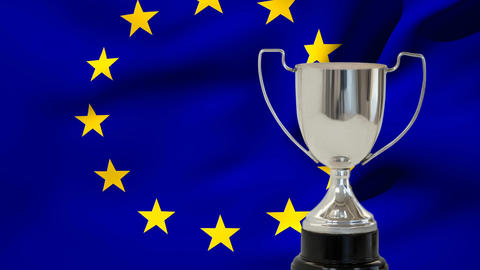 Flag of the EU and trophy Animation