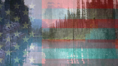 American flag and forest landscape Animation