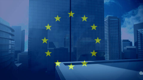 Flag of the EU with city Animation
