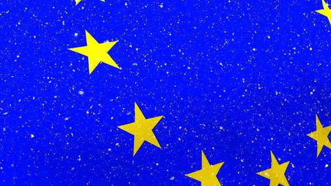 Waving EU flag with snow Animation