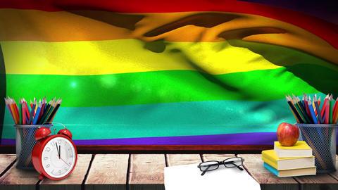 Rainbow flag with school supplies Animation