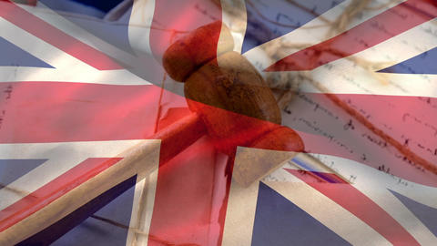 UK flag with judge gavel on documents Animation