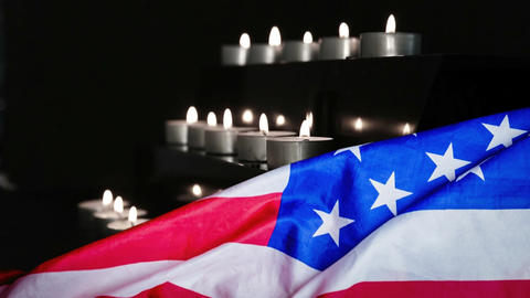 American flag and candles being blown Animation