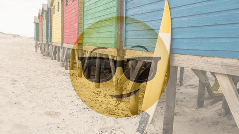 Sunglasses smiley at beach Animation