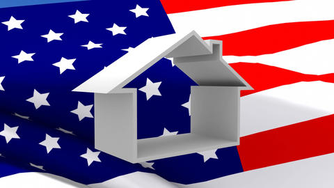 American flag and house Animation