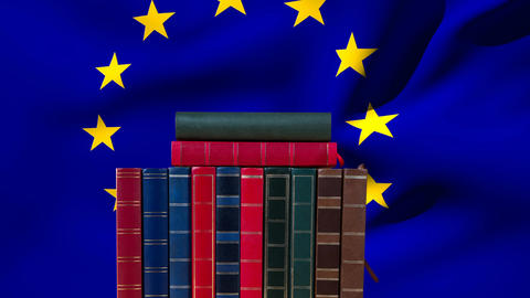 European union Flag and school books Animation