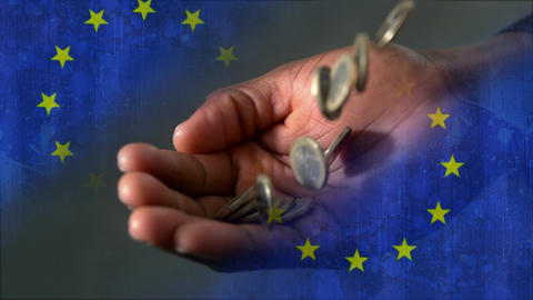 Euro coins falling into hand video Animation