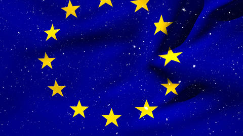 European flag floating with snowfall Animation
