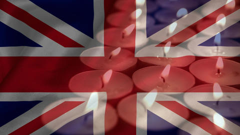 Union-jack and candles footage Animation