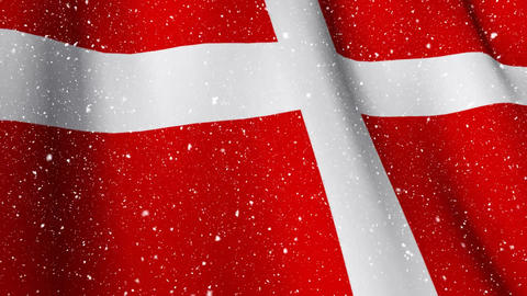 Danish flag waving during snowfall Animation