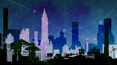 Animated urban city skyline video Animation