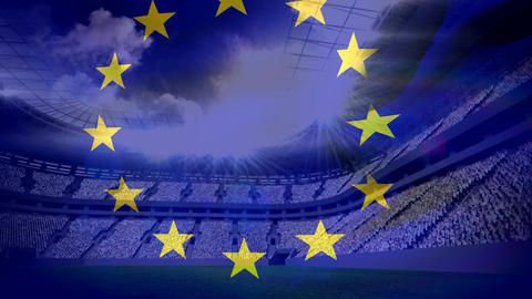 European flag floating in front of the football stadium Animation
