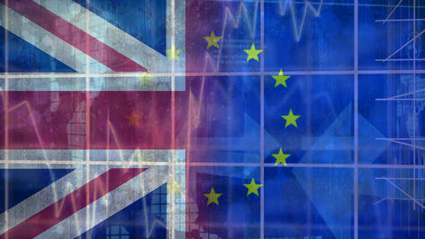 Eu and britain flag video Animation