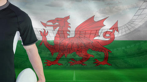 Rugby player of Wales Animation