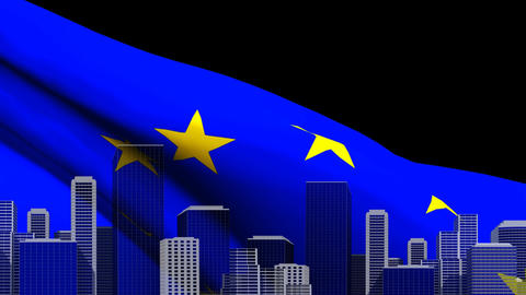 European flag waving with cityscape Animation