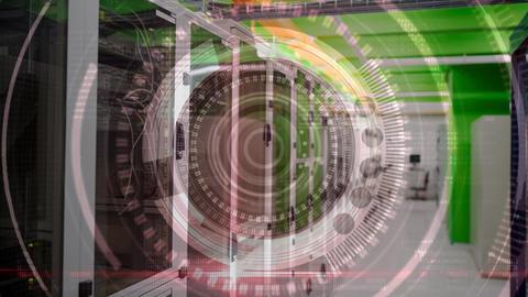abstract virtual circles and servers room Animation