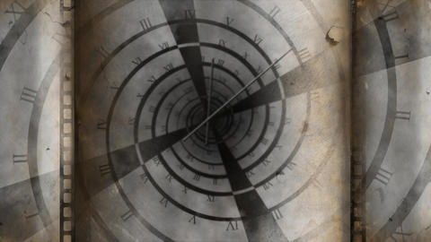 old spiral clock turning and clocks hands running Animation