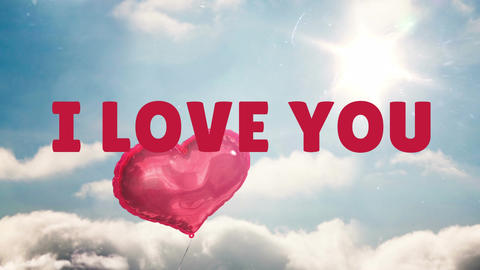 I love you text in the sky Animation