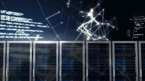 servers in a row with animated abstract graphics Animation