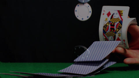 Playing cards & Poker chips placing in super slow motion Animation