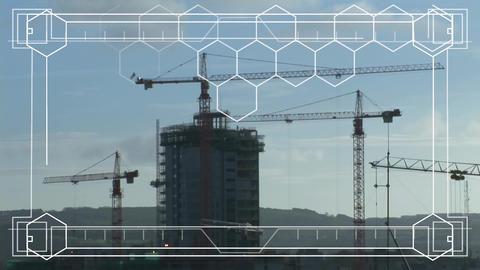 Digital composite of construction cranes Animation