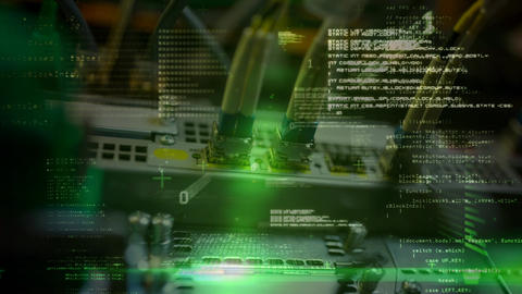 Animation of data and computer server with wires Animation