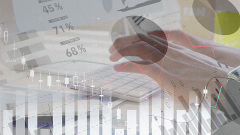 Man typing in his keyboard against the animation of financial data 4k Animation