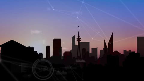 City skyline at dusk with clouds Animation