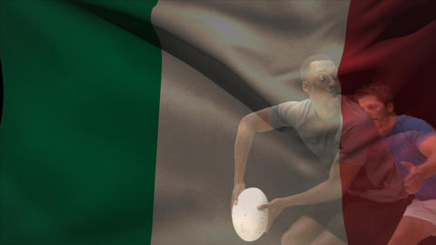 Rugby player throwing ball and getting tackled with Italian flag Animation