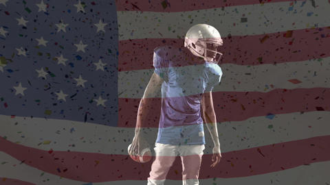 American football preparing for game with american flag Animation