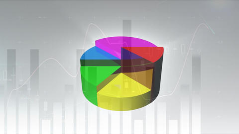Digital composite of Colourful 3d pie chart Animation