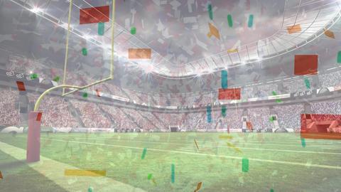 Animation of confetti falling in professional stadium of american football Animation
