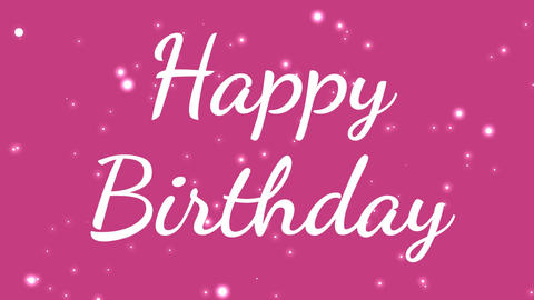 girly happy birthday text with pink background Animation